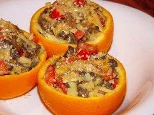 Салат в апельсиновых тарталетках